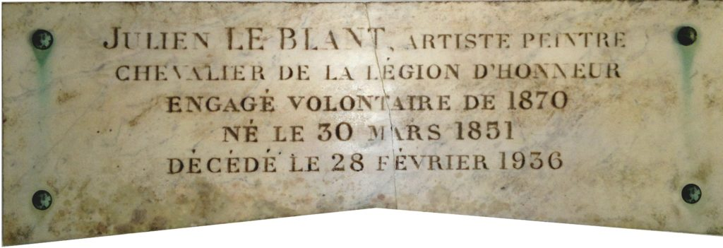 Plaque mortuaire de Julien Le Blant